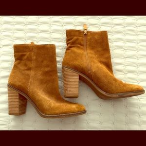 Franco Sarto Suede Stacked-Heel Ankle Boot